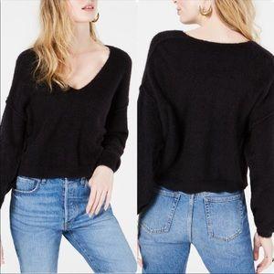 Free People Boxy V Neck Wool Yak Black Sweater M